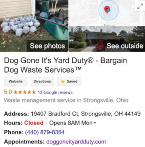 Dog Gone It Yard Duty - Bargain Dog Waste Services Google Strongsville Maps