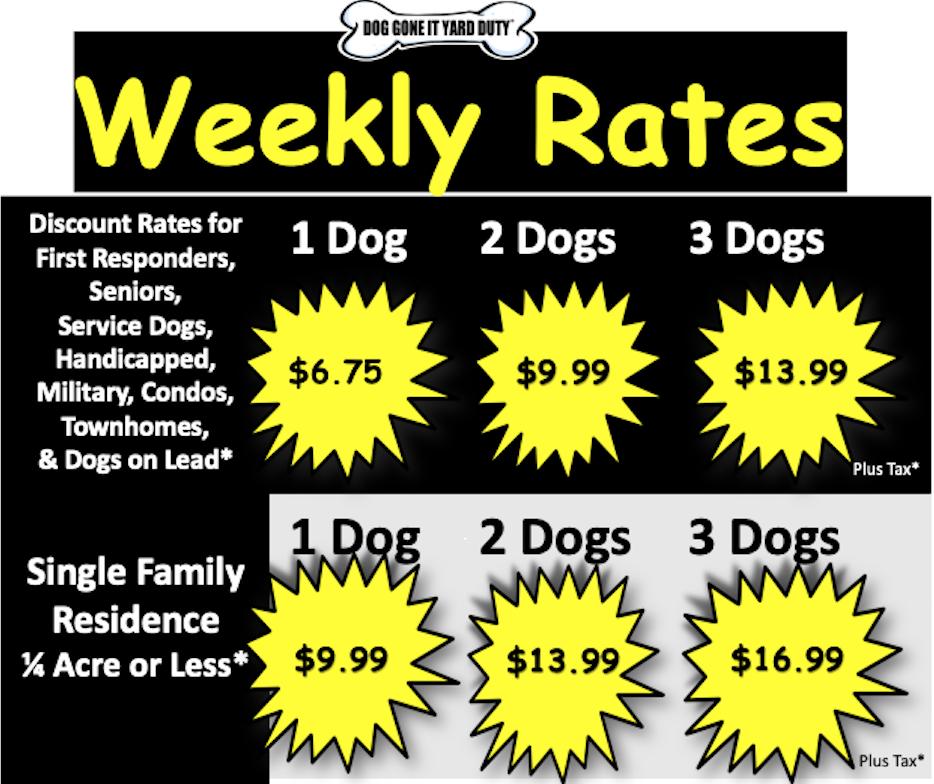 2019 Weekly Yard Duty Rates