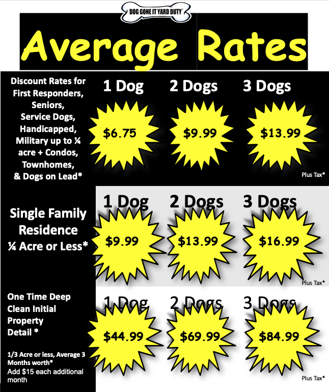 Bargain Dog Service Rates